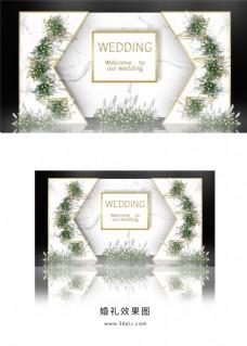轻奢白色简约大理石婚礼迎宾区效果图