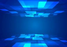 蓝色科技光效线条海报背景场景