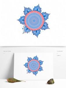 线性世界装饰纹理叶子花朵纹理蓝色
