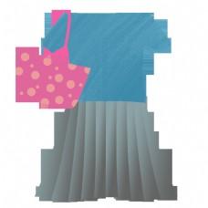 甜美风格女生上衣短裙套装