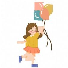 庆祝六一儿童节女孩插画