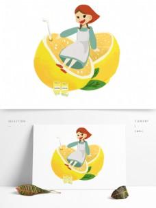 卡通简约喝橙汁的农家女孩装饰素材