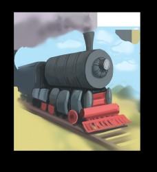 火车主题火车头漫画风