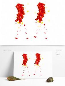 红色新年鞭炮节日元素