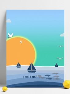 原创手绘渐变蓝色航海系列背景