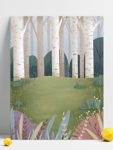 卡通清新森林樹林春季插畫背景