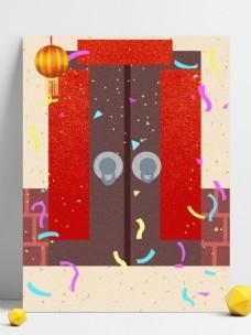 卡通手绘新年门前插画背景