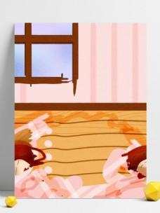 彩绘冬季温馨家居背景设计