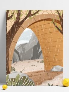 手绘雨季桥下风景插画背景