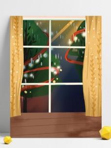 窗外下雨大树背景设计