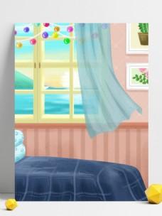 彩绘温馨家居卧室背景设计
