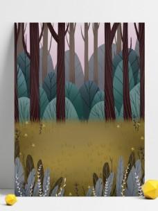卡通绿色树林风景插画背景