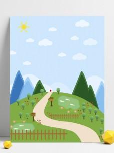 阳春三月外出游玩卡通背景