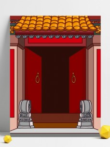 红色喜庆猪年门前插画背景