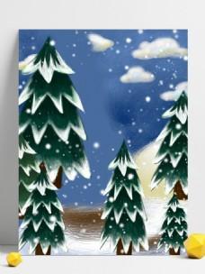 手绘冬季雪景插画广告背景