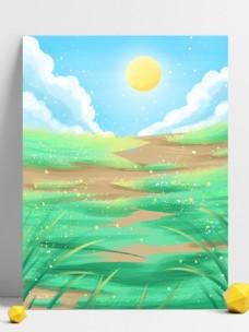 绿色手绘春天风景展板背景