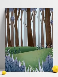 卡通綠色樹林風景插畫背景