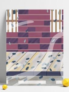 手绘下雨路边楼梯风景插画背景