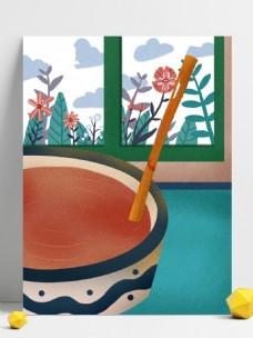 清新彩绘绿植腊八节背景设计