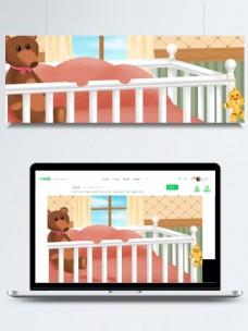 彩绘家居儿童床小熊背景设计