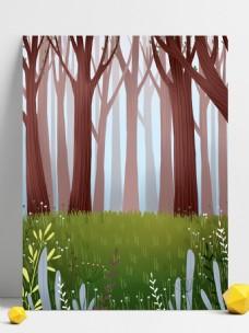綠色清新春季樹林背景設計