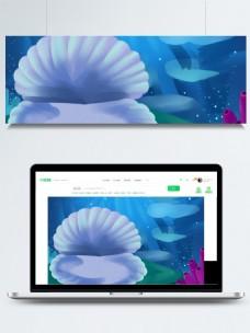 蓝色卡通手绘海洋生物风景插画背景
