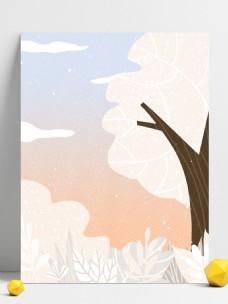 彩绘冬季大树花丛背景设计