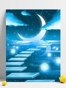 蓝色梦幻银河插画风景背景