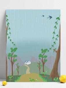 手繪雨季鄉間小路插畫背景