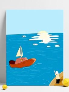 原创手绘航海系列清新背景