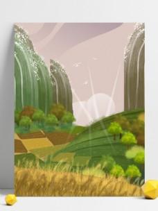 春季唯美手绘农田背景设计