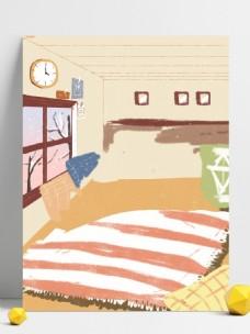 彩绘情侣日常卧室背景设计