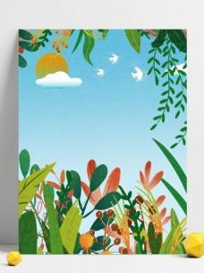 綠色手繪春天風景展板背景