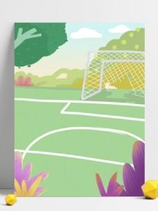 校园足球场地景色插画背景