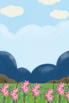卡通绿枝花朵免抠图