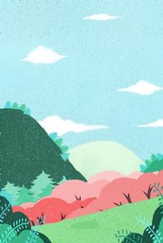 卡通绿色森林免抠图