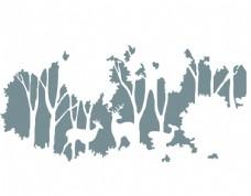 树林剪影森林北欧背景墙墙布壁画