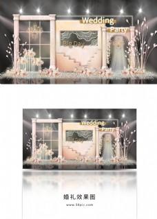 香槟色摩洛哥风阶梯式舞台拱门婚礼效果图