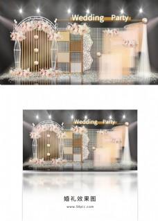 香槟色线条隔段拱门方格波浪帷幕婚礼效果图