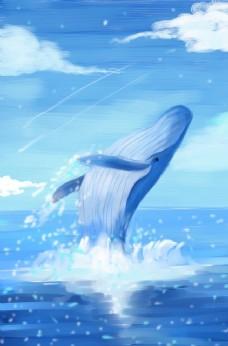 鲸鱼破天唯美海报