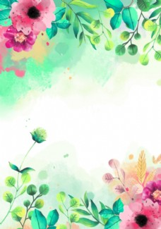 绿色植物花朵花卉树叶手绘背景