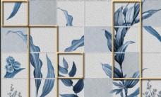 清新简约水彩油画手绘叶子拼接电