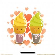 卡通冰淇淋甜点