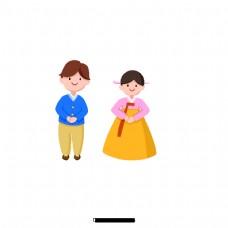 卡通可爱的韩国情侣