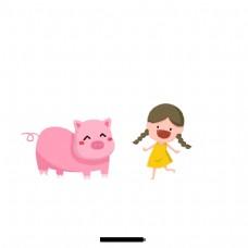 粉红猪和小女孩