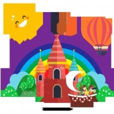 美丽的酷卡通可爱的手绘城堡彩虹太阳