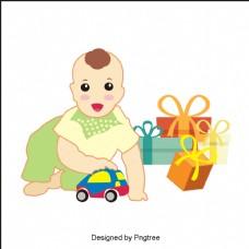 带玩具车的婴儿