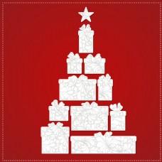 圣诞树由礼品盒和红色蝴蝶结制成
