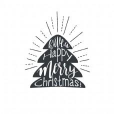 圣诞树字白色矢量上孤立