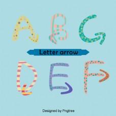 漂亮的彩色卡通可爱的手绘字母箭头蓝色背景